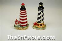Black and Red Lighthouses Salt & Pepper Shakers