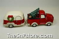 Christmas Red Truck and Camper Trailer Salt and Pepper