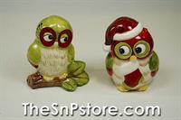 Christmas Owls Salt & Pepper Shakers
