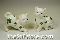 Shamrock Cats Salt & Pepper Shakers