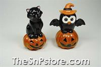Owl and Black Cat on Pumpkin Salt and Pepper