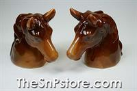 Brown Horse Heads Salt & Pepper Shakers