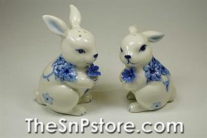 Bunny Blue Print Salt & Pepper Shakers