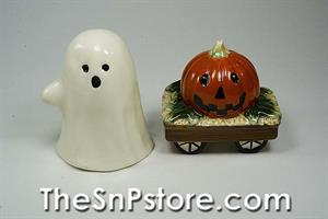 Casper and Pumpkin Wagon Salt & Pepper Shakers