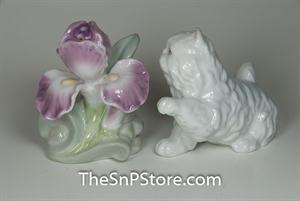 Persian Cat and Flower Salt & Pepper