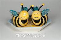 Bee Hive Salt & Pepper with plate
