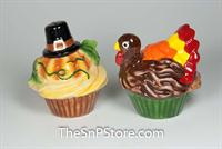 Pumpkin and Turkey cupcakes Salt & Pepper Shakers