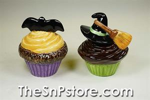 Bat & Witch Hat Cupcakes Salt and Pepper Shakers