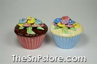 Flower Cupcakes Salt & Pepper Shakers