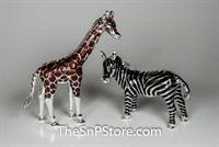 Giraffe and Zebra - Silverplated Salt & Pepper Shakers