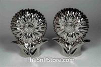 Flowers - Nickel-Plated Salt & Pepper Shakers