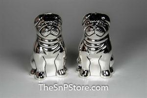 Pugs - Silverplated Salt & Pepper Shakers