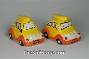 Yellow VW Beetle Smoky Mtns Salt & Pepper Shakers