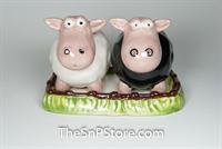 Black and White Sheep w/Tray Salt & Pepper Shakers