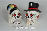 Day of the Dead Wedding Skulls Salt & Pepper Shakers