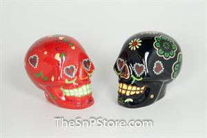 Day of the Dead Skulls - Black and Red Salt & Pepper Shakers
