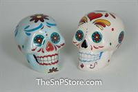 Day of the Dead Skulls - White Salt & Pepper Shakers
