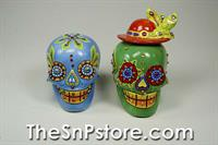 Blue/Green Day of the Dead Skull Salt & Pepper Shakers