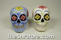 Day of the Dead Skulls - Blue&White Roses with Sequins Salt & Pepper Shakers