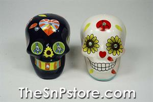 Day of the Dead Skulls - Black&White Peace with Sequins Salt & Pepper Shakers