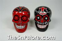 Day of the Dead Skulls - Red&Black with Sequins Salt & Pepper Shakers