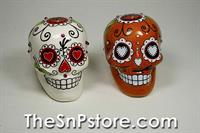 Day of the Dead Skulls - Red&White with Sequins Salt & Pepper Shakers