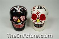 Day of the Dead Skulls - Black&White Flowers with Sequins Salt & Pepper Shakers