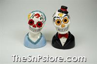 Day of the Dead Busts - Flowers/Hat Salt & Pepper Shakers