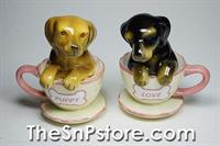 Dachshund Puppies in Tea Cup Salt & Pepper Shakers