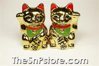 Golden Maneki Neko Cats Salt & Pepper Shakers