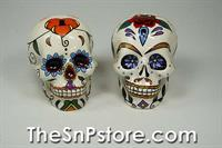 Day of the Dead Skulls - Rose Salt & Pepper Shakers