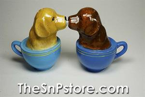 Labrador Puppies in Cups Salt & Pepper Shakers