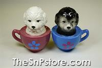 Maltese Puppies in Cups Salt & Pepper Shakers