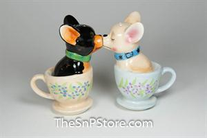 Tea Cup Chihuahua Salt & Pepper Shakers - Magnetic