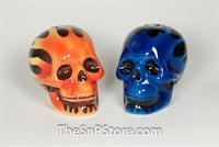 Blue Red Skulls Salt & Pepper Shakers