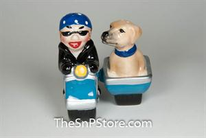 Lady and Dog Cycle Salt & Pepper Shakers