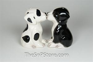 Black and White Pups Salt & Pepper Shakers - Magnetic