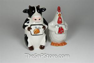 Cow and Chicken Salt & Pepper Shakers - Magnetic