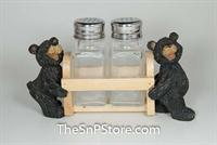 Bears Light Wood Cart Salt & Pepper Shakers