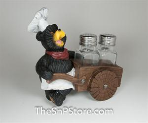 Bear Chef Wheel Cart Salt & Pepper Shakers