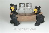Bears Dark Wood Cart Salt & Pepper Shakers