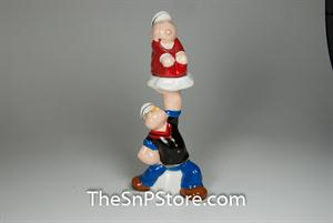 Popeye Lifting Sweet Pea Salt & Pepper Shakers - Magnetic