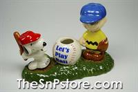 Snoopy Let'S Play Ball S&P And Toothpick Holder