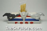Ford V8 Ponies S&P Shakers with Toothpick Holder