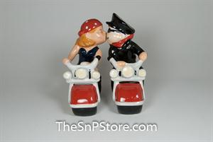 Biker Couple Salt & Pepper Shakers - Magnetic