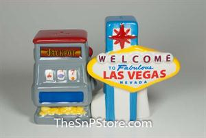 Las Vegas Sign & Slot Machine Salt & Pepper - Magnetic