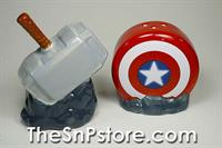 Captain America Shield and Thor Mjolnir Marvel Salt  & Pepper Shakers