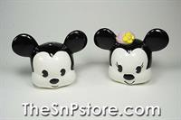 Mickey and Minnie Heads 90th Anniv Salt  & Pepper Shakers