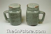 Blue Gray Mason Jar Oven Top Salt  & Pepper Shakers