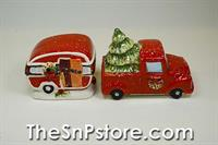 Truck Home For Christmas Salt  & Pepper Shakers